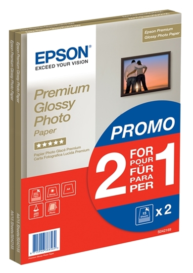 Afbeelding van Epson Premium Glossy Photo Paper A4 2x15 vel 255gr C13S042169 art.nr. 411417676