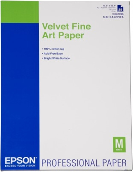 Afbeelding van Epson Velvet Fine Art Paper 260 gr  A2 (420mm x 584mm) 25vel C13S042096 art.nr. 411283215