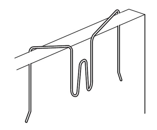 Afbeelding van Scheidingswand haak flex, verenstaal, max. draagkracht 3kg. Verkrijgbaar in twee maten art.nr. 9474