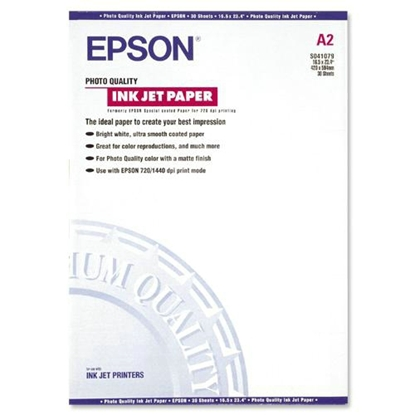 Afbeelding van Epson Photo Quality Inkjet Paper 105gr. A2 30 vel Matt C13S041079 art.nr. 410117300