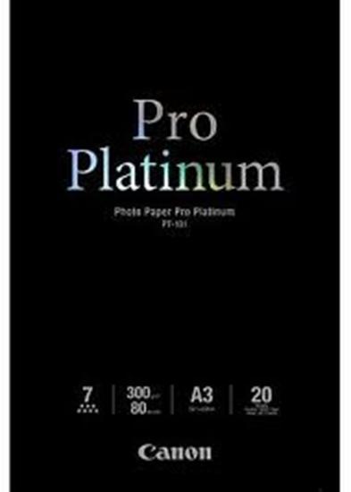 Afbeelding van Canon PT-101 Pro Platinum Photo Paper High Gloss A3 20 vel 300gr. art.nr. 2429767