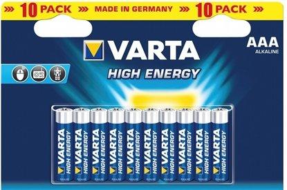 Afbeelding van Varta High Energy Alkaline AAA-LR-03 1.5 V 10 stuks verpakking art.nr. 9323
