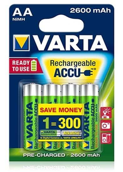 Afbeelding van Varta Professional accu 1.2 V 2600 mAh NIMH AA 4 stuks verpakking art.nr. 84930