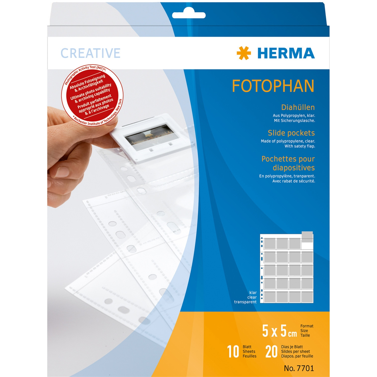 Afbeelding van Herma kleinbeeld dia opbergbladen helder-helder 10 stuks Herma 7701 art.nr. 54365
