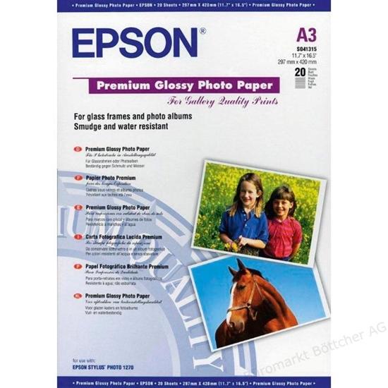 Afbeelding van Epson Premium Glossy Photo Paper 255gr A3 20 vel C13S041315 art.nr. 410471021