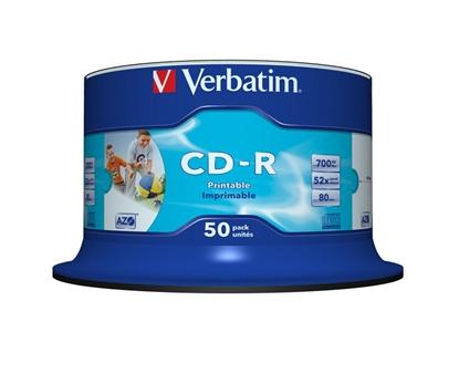 Afbeelding van Verbatim CD-R 80 700MB 52x Speed wide printable 50 stuks art.nr. 49753