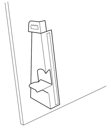 Kartonnen staander met zelfklevende strip 18 cm hoog