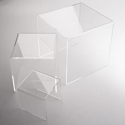 Plexiglas 3 standaards transparant 1 x 10x10x10, 1 x 15x15x15 en 1 x 20x20x20cm