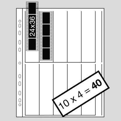 Kaiser pergamijn negatief bladen 100 stuks per blad 10 stroken van 4 kleinbeeldnegatieven